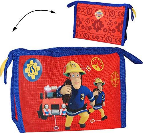 alles-meine.de GmbH Kosmetiktasche / Waschtasche -  Feuerwehrmann Sam Jones  - Kinder & Baby / z.B. für Kinderzahnbürste & Babyzahnbürste - Mädchen & Jungen - Kulturbeutel - Ku..