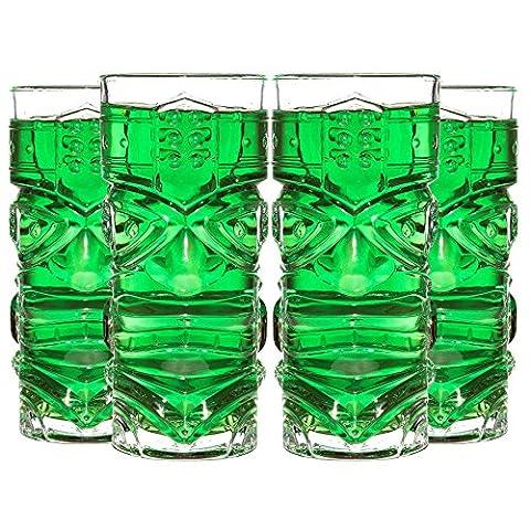 CKB Ltd® Lot de 4 TIKI Bar Glasses Verres à Cocktail Highball - Idéal Pour Une Boisson Mélangée Cocktail rhum-Basé Mai Tai ou Zombie Cocktails