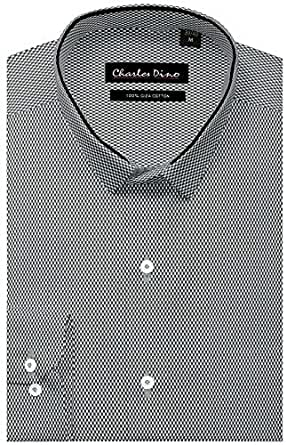 Charles Dino Mens Regular Fit 100% Giza Cotton Black & White Oxford Formal Wear Shirt