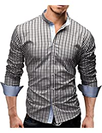 MERISH Hommes Chemise d'Affaires Classique Manches Longues SlimFit Plaid design adapté pour toutes les occasions Modell 38