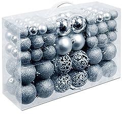Idea Regalo - Unbekannt Christmas Gifts Palle di Natale, in plastica, Plastica, argento, 100x