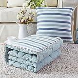 DIDIDD Cotone lavabile in puro cotone Color Grid-Cuscino doppio uso da un divano da ufficio Car Afternoon Nap Trapunta climatizzata, 40 * 40, color caffè.,Blu verde, 40 * 40