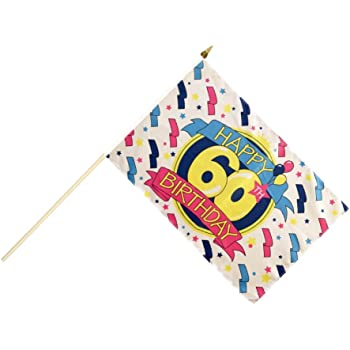 Stockflagge Stockfahne Happy Birthday 60 Gratis Sticker FlaggenfritzeR