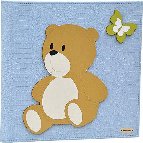 Fabula linea orso peluche - album foto orsetto panna - formato cm 30x30 con copertina in ecopelle cielo e applicazioni in legno - 60 pagine avorio - cod. 165220