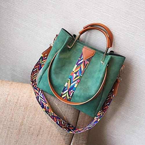 FETYY Herbst und Winter Handtasche Einfache farbige Gürtel Wasser Barrel Bag Hand Bill Schultertasche Zweiteilige geschliffene Stofftasche, grün -