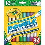 CRAYOLA-58-8311-E-000 10 Feutres lavables Double surligneur + Pointe Large, 58-8311-E-000, Multicolore