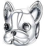 MariaFonte Bead Charm a Forma di Cane Bulldog Francese in Argento Sterling 925, Compatibile con Le più Diffuse Marche di Brac