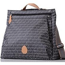 PacaPod Lewis blanco y negro Funda de azulejo de bolsa de accesorios para cambio de pañal - de lujo color negro y con diseño de patrón de bolso cambiador tipo bandolera 3-in-1 Convertible de la mochila con tiras de organizar cables con pantalla de