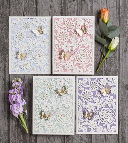 Singular Luxus Gold Butterfly Floral Laser geschnittene personalisierbar Bedruckte Hochzeit Einladungen, mit Einsatz & Umschlag