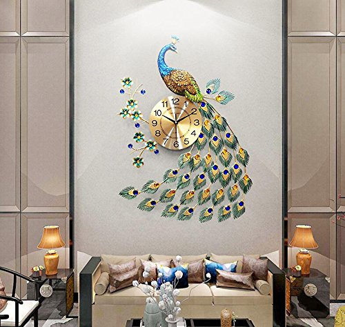 KHSKX-Der Pfau Uhr Uhr Das Wohnzimmer Moderne Und Kreative Persönlichkeit Art Deco Wanduhr Quarz -...