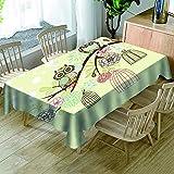 KJGUODP Tischdecke Wasserabweisend Tischwäsche Cartoon-Eule Tischtuch für Küche Esszimmer Garten Balkon oder Hochzeit90*150cm