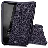 Slynmax Coque iPhone X Noir Coque iPhone 10 Silicone Paillette Strass Brillante Bling Bling Glitter de Luxe Bumper Housse Etui de Protection [Ultra Fin] [Anti Choc] pour Apple iPhone X -Série Glamour