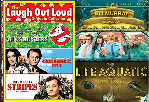 Oceanographer Steve Zissou On the Hunt Life Aquatic Bill Murray Stripes / Groundhog Day / Ghostbusters Laugh out Loud Movie Feature DVD 4 Comedy Set Bundle -
