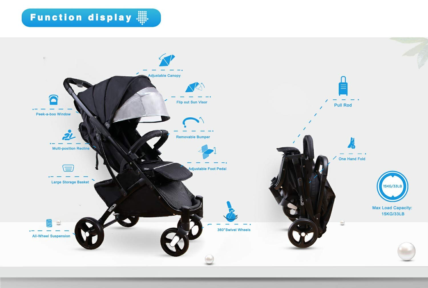 Adjustable Backrest Black Buggy with Lying Position with Safe Five-Point Harness and Brake Small Foldable Buggy Stroller Lightweight Pushchair Kids Four Wheel Pushchair with One Hand Fold