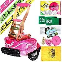 Barefoot Slacklines 15m Line! ¡Juego Completo Que Incluye Slackline, trinquete, Línea de Entrenamiento, Protección contra ladridos e Instrucciones! 3 Colores de Fluro Disponibles (Rosa Fluorescente)