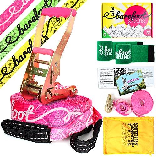 Barefoot Slacklines 15m Linie! Komplettset mit Slackline, Ratsche, Trainingsschnur, Bark Protektoren & Anleitung! 3 Fluro Farben verfügbar (Fluro Rosa)