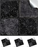 2 Black Stone- Self Adhesive Mosaic Wall Tile Decals For 150mm (6 inch) Square Tiles –(NTP 08)- Realistic Looking Stick On Wall Tile Transfers Directly From the Manufacturer: TILE STYLE DECALS, No Middleman -- Peel and Stick on Tile to Transform your Kitchen, Bathroom – Oil-proof, Waterproof Tile Stickers, Heat Resistant Sticks on tile kitchen tiles stickers / Bathrooms Tile Stickers (Sample Pack of 2, Black Stone)