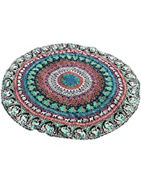 Toalla de Playa Redonda Cebbay Estilo Mandala Indio Bohemio con Borlas Grande Redonda Tapestry,Esterilla