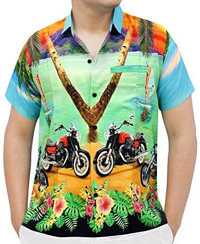 La Leela Strand Hawaiihemd Herren XS - 5XL Kurzarm Front-Tasche Hawaii-Print Casual Button Down Hemd Sea Green M DRT050 (Schlaf-hose Herren Grüne)