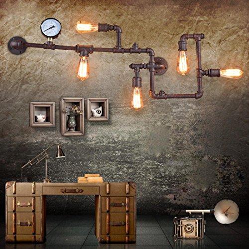 Kreativ Vintage Rohr Design Wandlampe Retro Industriell Lampe Wandleuchte Innen Dekorativ Direkt Beleuchtung E27 mit 5 Lampenhalter Metallschlauch Edison für Hotel Balkon Nachttischlampe Flur Bar (Edison Lampe Stand)