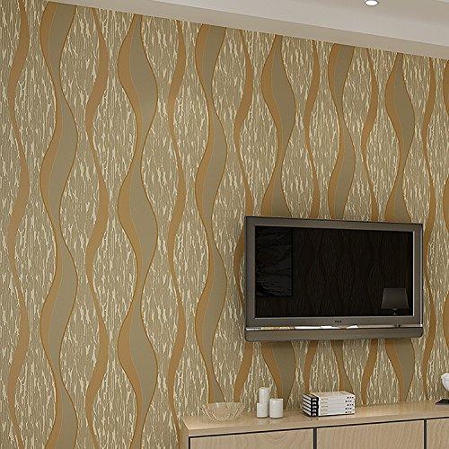 BBSLT Semplice e moderno di tessuto non tessuto vivente stereo in camera da letto TV parete di sfondo strisce sfondo , brown ,