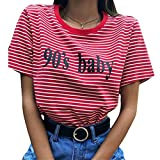 Frauen rot und weiß gestreiften T-Shirt 90er Jahre Baby Letters Print Kausal Tees Tops (Color : Rot, Size : L)