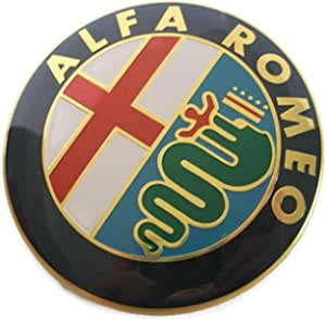 666 2 Embleme Schild Alfa Romeo Gold Logo 74mm Kapuze Front Hinten Emblem Gold 147 156 159 Brera Mito Metall Auto