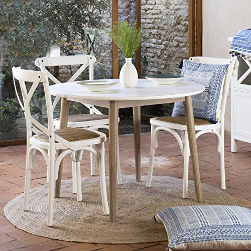 Kaokao Table Ronde 105D Blanc/Taupe - Bois - 105x105x75 cm - Couleur Blanc Winter/Taupe