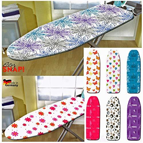 heimtexland ® 1 Bügelbrettbezug Bügeltischbezug Easy Clip Bügelbrett Spannbezug für faltenfreien Sitz Baumwolle dampfdurchlässig Ökotex 125 x 48 cm Paris lila Typ620