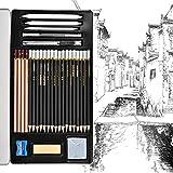 Towinle Bleistift Set, 30-teilige Skizzieren Zeichnen Stifte Bleistifte zum Skizzieren und Zeichnen Professional Skizzierstifte Set mit Zeichenkohle Papierwischer in Eisenkiste