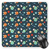 BGLKCS Boy's Mauspads,Cartoon Style Astrological Concepts Earth Mars Saturn Neptune Astronaut and Craft,Standard Size Rectangle Non-Slip Rubber Mousepad,Multicolor