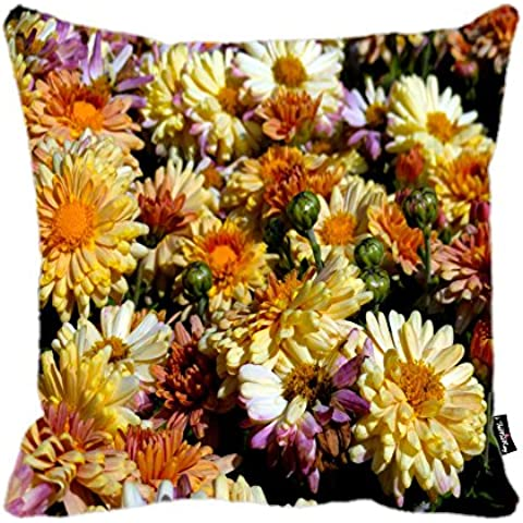 i FaMuRay Federa Cuscino Square Chrysanthemums in the Garden Background, 16x16 inches