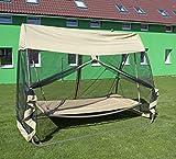 ROJAPLAST 97/19-5 Gartenschaukel Textil Hängematte mit Moskitonetz, Beige, 142 x 250 x 205 cm