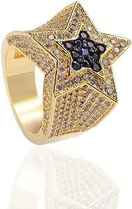 Anello punky stella ghiacciata placcato in oro 18 carati Bling CZ anello simulato diamante hip hop anelli pentagramma anello di fidanzamento di nozze anello per uomo donna