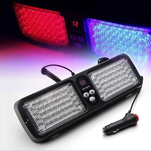 12 modes 86 LED d'urgence avertissement de voiture auto Visière Police Strobe Bleu clair rouge