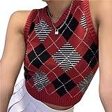 Loalirando Chaleco de punto para mujer y niña, jersey sin mangas de mujer, a cuadros, elegante, para invierno