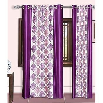 Pari Home Furnishing 2 Piece Eyelet Polyster Curtain - 7ft,Purple