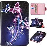 """Skytar Galaxy Tab 3 de 7"""" Lite Funda,Carcasa para Tab3 Lite 7.0 - Flip Style Stand Case Cover de PU Cuero Funda para Samsung Galaxy Tab 3 7.0 Lite (SM-T110 SM-T111 SM-T113 SM-T116) Tablet Protección,mariposa púrpura"""