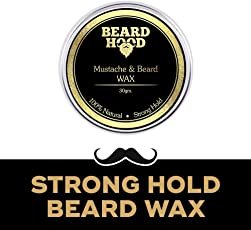 Beardhood 100% Natural Mustache and Beard Wax for Strong Hold Natural Musky Scent, Golden, 30g