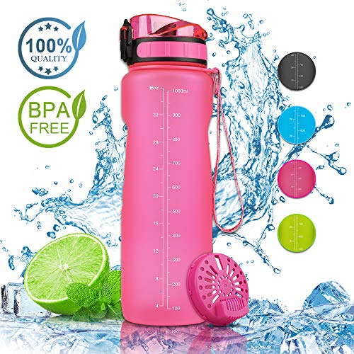 Nasharia Sport Trinkflasche - 650ml/1L, BPA Frei Auslaufsicher Sport Wasserflasche Ideal für Outdoor, Fahrrad, Fitness, Camping, Schule, Büro usw. (Rosa)