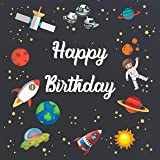 party bloom space theme kids birthday backdrop decoration background banner (4x4ft small)-Multi color