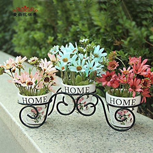 Mesmj Künstliche Blumen Mini Topfpflanzen Wedding Bouquets Balkon Bügeleisen Kunst Blume Racks, Daisy Keramik Topf 50 * 25 cm (Display-racks, Großhandel)