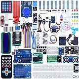 Quimat Kit de Arduino Más Completo y Avanzado con Tutorial, Placa UNO R3, Placa de Expansión, LCD1602, HC-SR501, Sensor Ultrasónico HC-SR04 con Soporte (69 Artículos)