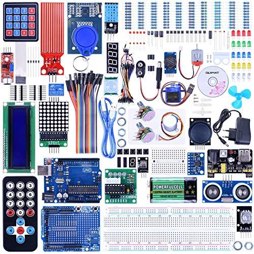 Quimat Starter Kit für Arduino UNOR3 Projekt Komplettes Ultimate Starter Kit, UNOR3 Entwicklungsboard, LCD1602, Servo, Schrittmotor, Joystick 21 Tasten Fernbedienung, PIR Motion Sensor (69 Stück) -