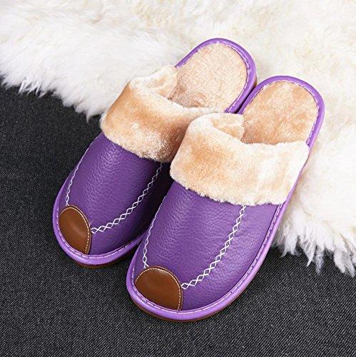 Mhgao da donna casual cotone pantofole pantofole in pelle al coperto tenere al caldo in autunno e in inverno 5