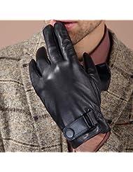 Los guantes calientes guantes y cómoda Guantes de terciopelo grueso de los hombres más calientes guantes de cuero genuino de la bici Conducción del invierno pantalla táctil guantes de cuero de cabra ( Tamaño : L )