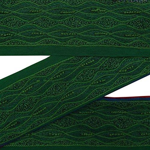 Vintage Weinlese benutzte Gewebe-Ordnungs-Gruen gestickte indische Sari-Grenze, die Spitze 3 Yds naehen (Yds Spitze)