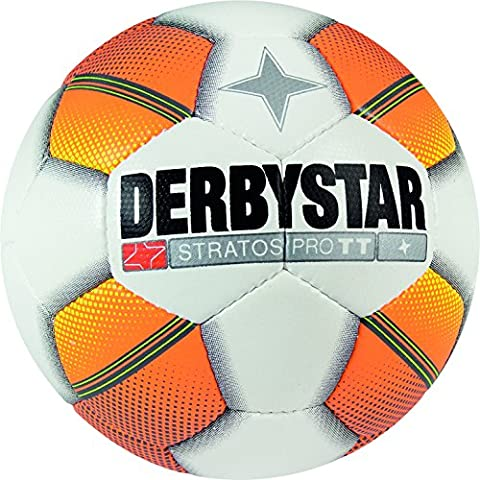 Derbystar Stratos Pro TT, ballon d'entraînement, footballeur Taille 5(420–440g), blanc orange jaune, 1125