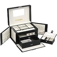 LANGRIA Boîte à Bijoux Mallette de Maquillage Rectangulaire en Cuir synthétique et Doublure Douce avec Miroir intérieur…