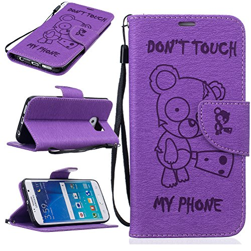 BONROY® Magnetic Flip Cover for Samsung Galaxy S7 Edge,Cute Funny Little Bear Embossing Wallet Case with Hand Strap for Samsung Galaxy S7 Edge, Premium PU Leather Folio Style Retro PU Leather Wallet Flip with Card Slots and and Stand Function Case Cover for Samsung Galaxy S7 Edge Test